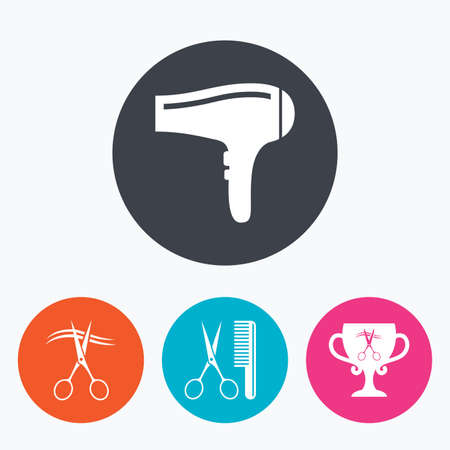blow drying: Hairdresser icons. Scissors cut hair symbol. Comb hair with hairdryer symbol. Barbershop winner award cup. Circle flat buttons with icon.
