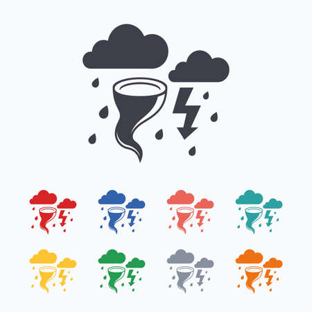 gale: Storm bad weather sign icon. Clouds with thunderstorm. Gale hurricane symbol. Destruction and disaster from wind. Insurance symbol. Colored flat icons on white background.