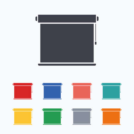 jalousie: Louvers rolls sign icon. Window blinds or jalousie symbol. Colored flat icons on white background.