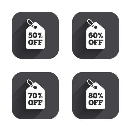 60 70: Sale price tag icons. Discount special offer symbols. 50%, 60%, 70% and 80% percent off signs. Square flat buttons with long shadow. Illustration