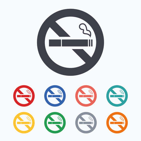 smoking cigarette: No Smoking sign icon. Quit smoking. Cigarette symbol. Colored flat icons on white background.