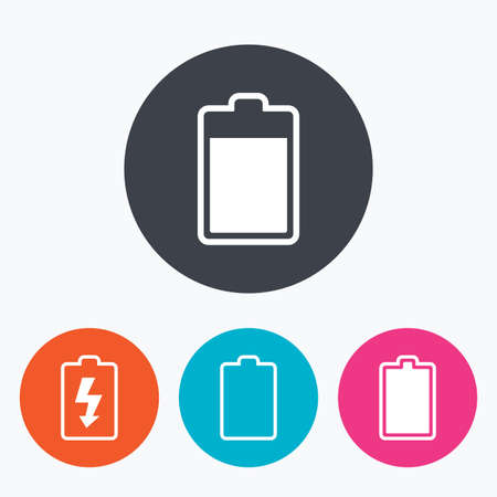 stored: Battery charging icons. Electricity signs symbols. Charge levels: full, empty. Circle flat buttons with icon.