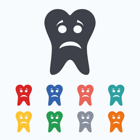 aching: Tooth sad face sign icon. Aching tooth symbol. Unhealthy teeth. Colored flat icons on white background.