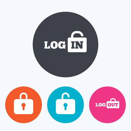 로그인 및 로그 아웃 아이콘. 로그인 또는 로그 아웃 기호. 자물쇠 아이콘입니다. 아이콘이있는 원형 버튼.