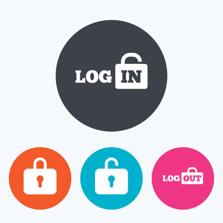 Login and Logout icons. Sign in or Sign out symbols. Lock icon. Circle flat buttons with icon. Illustration
