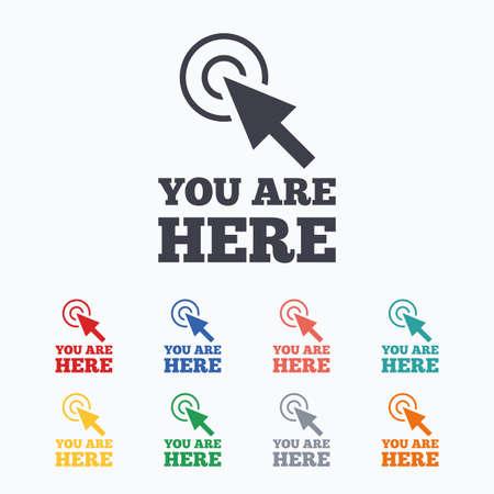 te negro: Estás aquí icono de la muestra. El símbolo de información del cursor. puntero del mapa con su ubicación. iconos planos de colores sobre fondo blanco.