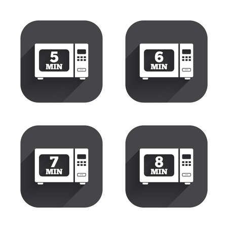7 8: Microwave oven icons. Cook in electric stove symbols. Heat 5, 6, 7 and 8 minutes signs. Square flat buttons with long shadow. Illustration
