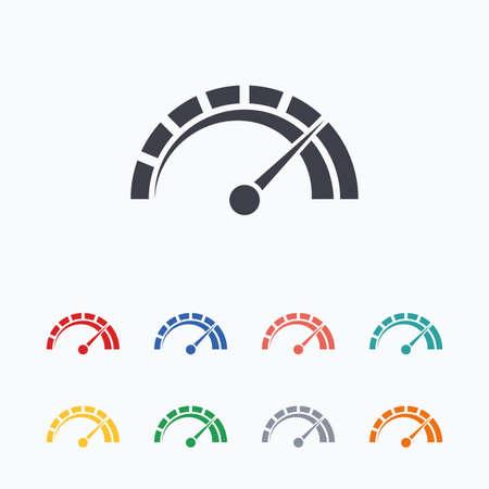 velocímetro: icono de señal de tacómetro. símbolo de la revolución de venta libre. el rendimiento del velocímetro del coche. iconos planos de colores sobre fondo blanco. Vectores