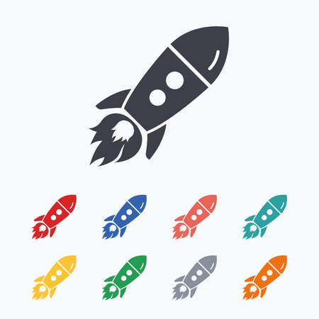 Start up icon. Startup business rocket sign. Colored flat icons on white background.