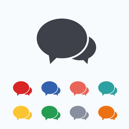 chat bubbles: Speech bubbles icon. Chat or blogging sign. Communication symbol. Colored flat icons on white background.