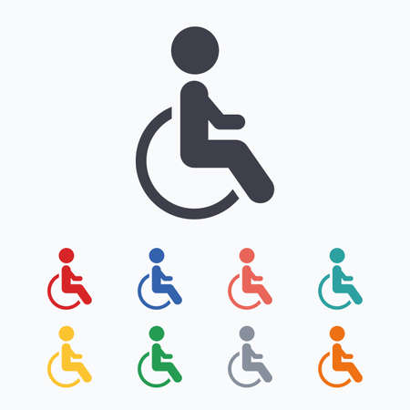 invalid: Disabled sign icon. Human on wheelchair symbol. Handicapped invalid sign. Colored flat icons on white background.