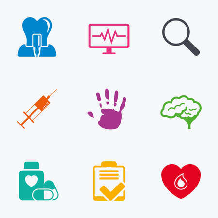 syringe injection: Medicine, medical health and diagnosis icons. Blood, syringe injection and neurology signs. Tooth implant, magnifier symbols. Flat colored graphic icons.