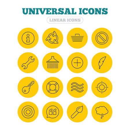 rubbish cart: Universal icons. Information, shopping basket and shower. Repair tool, home key and brush. Comic speech bubble, target aim and quotes. Linear icons on yellow buttons.