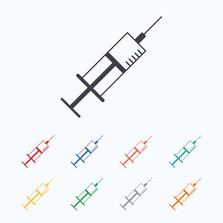inoculation: Syringe sign icon. Medicine symbol. Colored flat icons on white background.