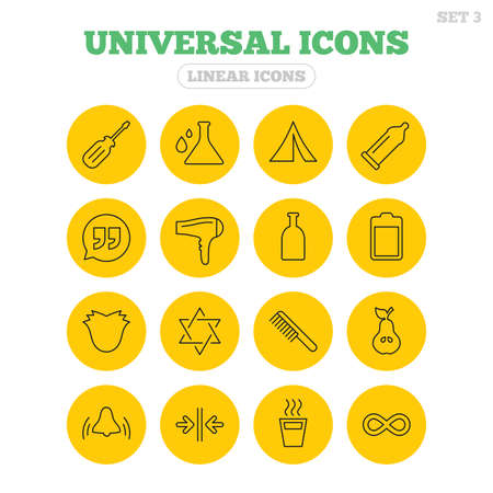 yellow hair: Universal icons. Camping tent, bottle and hot coffee drink. Hair dryer, battery and david star. Screwdriver tool, quotes and camping tent. Linear icons on yellow buttons. Illustration