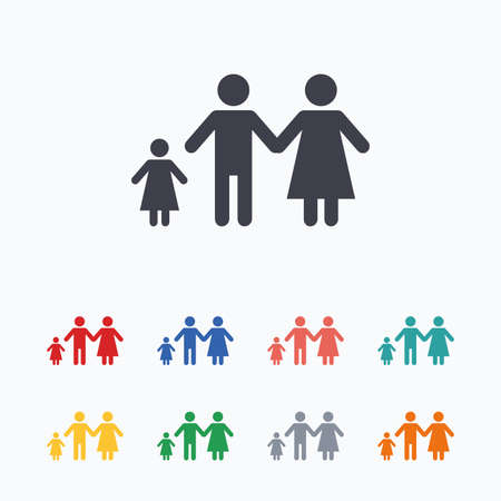 one child: Family with one child sign icon. Complete family symbol. Colored flat icons on white background. Illustration