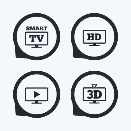 3d mode: Smart TV mode icon. Widescreen symbol. High-definition resolution. 3D Television sign. Flat icon pointers. Illustration