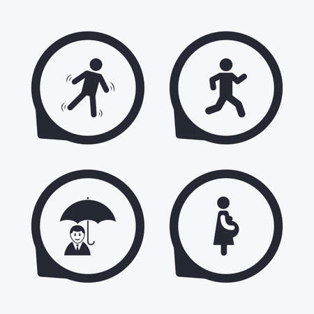 sex positions: Businessman with umbrella icon. Human running symbol. Man love Woman or Lovers sign. Women Pregnancy. Life insurance. Flat icon pointers.