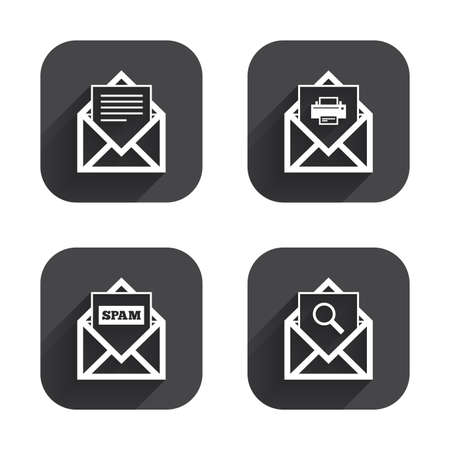 webmail: Mail envelope icons. Print message document symbol. Post office letter signs. Spam mails and search message icons. Square flat buttons with long shadow.