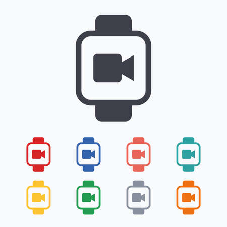 watch video: Smart watch sign icon. Wrist digital watch. Video camera symbol. Colored flat icons on white background.
