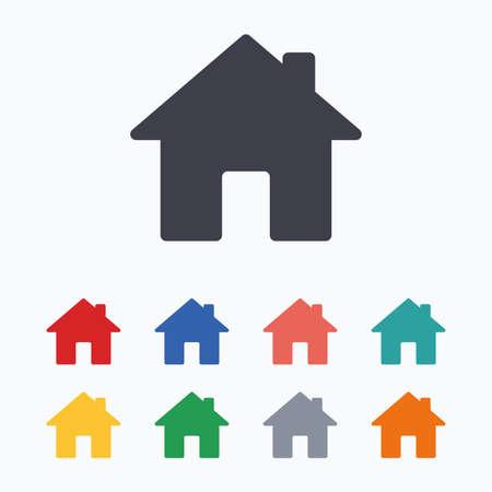 navegacion: icono de signo de origen. botón de la página principal. símbolo de la navegación. iconos planos de colores sobre fondo blanco.