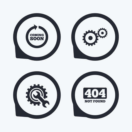 screw key: Coming soon rotate arrow icon. Repair service tool and gear symbols. Wrench sign. 404 Not found. Flat icon pointers.