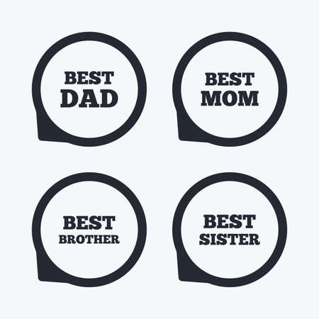 Best Mom And Dad Brother And Sister Icons Award Symbols Flat