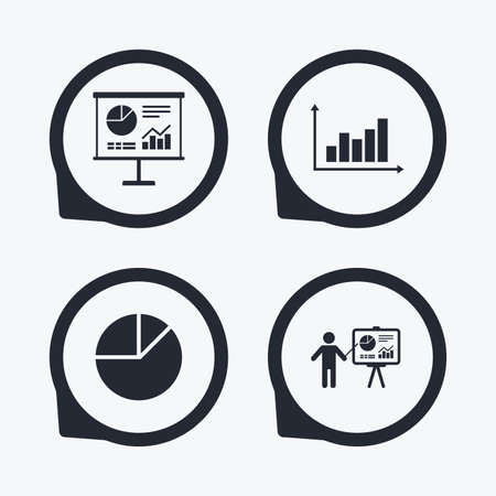 on demand: Diagram graph Pie chart icon. Presentation billboard symbol. Supply and demand. Man standing with pointer. Flat icon pointers.