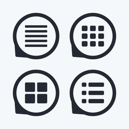 thumbnails: List menu icons. Content view options symbols. Thumbnails grid or Gallery view. Flat icon pointers.