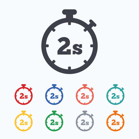 second: Timer 2 seconds sign icon. Stopwatch symbol. Colored flat icons on white background. Illustration