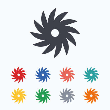 cutting blade: Saw circular wheel sign icon. Cutting blade symbol. Colored flat icons on white background.