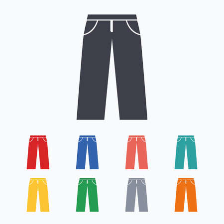 white pants: Mens jeans or pants sign icon. Casual clothing symbol. Colored flat icons on white background. Illustration