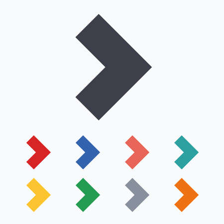 buttons web: Arrow sign icon. Next button. Navigation symbol. Colored flat icons on white background.
