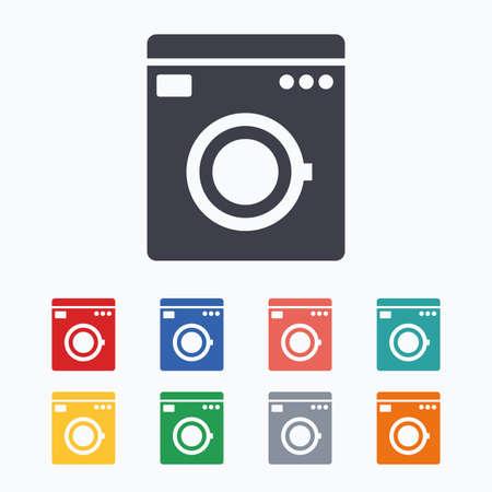 washhouse: Washing machine icon. Home appliances symbol. Colored flat icons on white background.