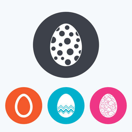 pasch: Easter eggs icons. Circles and floral patterns symbols. Tradition Pasch signs. Circle flat buttons with icon. Illustration