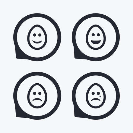 pasch: Eggs happy and sad faces icons. Crying smiley with tear symbols. Tradition Easter Pasch signs. Flat icon pointers.