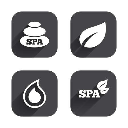 tear drop: Spa stones icons. Water drop with leaf symbols. Natural tear sign. Square flat buttons with long shadow.