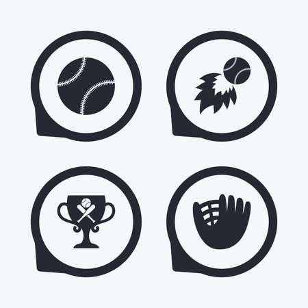 crosswise: Baseball sport icons. Ball with glove and two crosswise bats signs. Fireball with award cup symbol. Flat icon pointers.