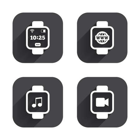 watch video: Smart watch icons. Wrist digital time watch symbols. Music, Video, Globe internet and wi-fi signs. Square flat buttons with long shadow.