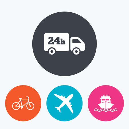 24h: Cargo truck and shipping icons. Shipping and eco bicycle delivery signs. Transport symbols. 24h service. Circle flat buttons with icon.