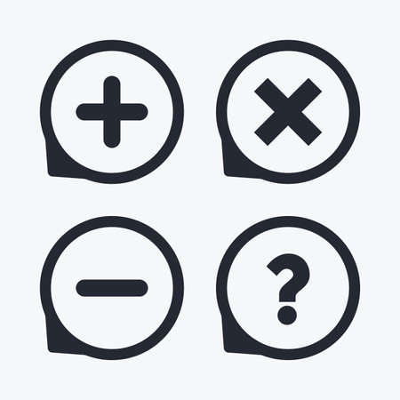 enlarge: Plus and minus icons. Delete and question FAQ mark signs. Enlarge zoom symbol. Flat icon pointers. Illustration