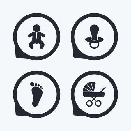 buggy: Baby infants icons. Toddler boy with diapers symbol. Buggy and dummy signs. Child pacifier and pram stroller. Child footprint step sign. Flat icon pointers. Illustration