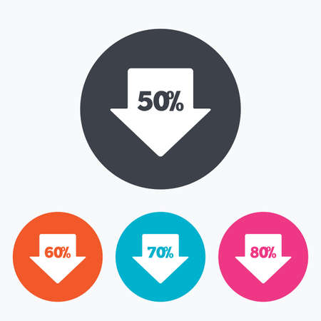 60 70: Sale arrow tag icons. Discount special offer symbols. 50%, 60%, 70% and 80% percent discount signs. Circle flat buttons with icon.