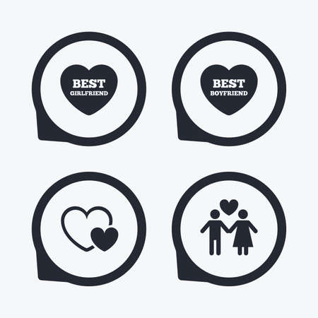 sex positions: Valentine day love icons. Best girlfriend and boyfriend symbol. Couple lovers sign. Flat icon pointers.