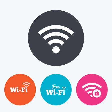 protected: Free Wifi Wireless Network icons. Wi-fi zone locked symbols. Password protected Wi-fi sign. Circle flat buttons with icon.