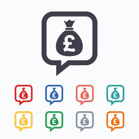 Money bag sign icon. Pound GBP currency speech bubble symbol. Colored flat icons on white background.
