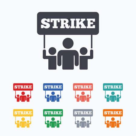 Grève signe icône. Groupe de symbole des personnes. Action industrielle. Les personnes titulaires de protestation bannière. icônes plates de couleur sur fond blanc. Vecteurs