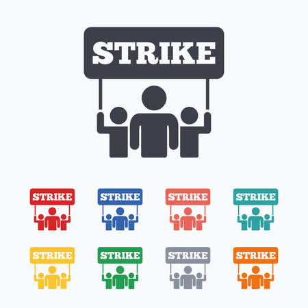 activists: Strike sign icon. Group of people symbol. Industrial action. People holding protest banner. Colored flat icons on white background.