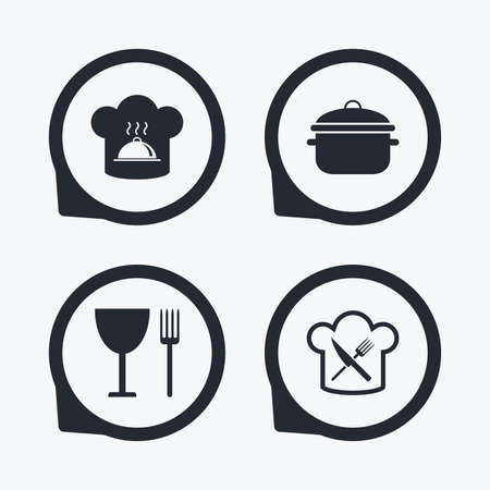 crosswise: Chief hat and cooking pan icons. Crosswise fork and knife signs. Boil or stew food symbols. Flat icon pointers.