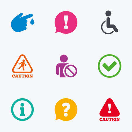 injury: Caution and attention icons. Question mark and information signs. Injury and disabled person symbols. Flat colored graphic icons. Illustration